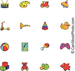 Toys icons set cartoon