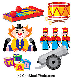 toys - set of vector images of children\'s toys for boys