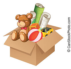 Illustration of toys in a box on a white background
