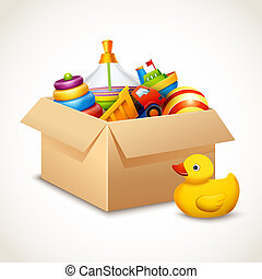 Decorative children toys set in open paper box isolated on white background vector illustration