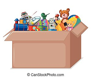 Toys in cardboard box