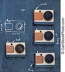 Toys in form of wood photo camera