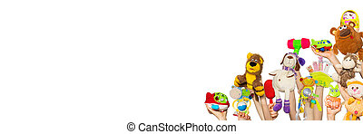 Toys in the hands on white background