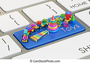 Toys keyboard button, 3D rendering