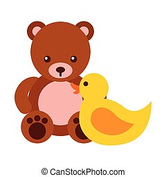 toys kids bear teddy and rubber duck