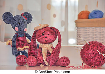 toys knitted hook, mouse and rabbit