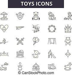 Toys line icons, signs set, vector. Toys outline concept, illustration: car, bear, ball, toy, game, child, play, teddy, collection