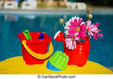 Toys near swimming pool