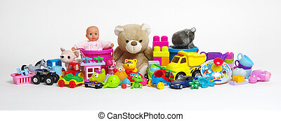 Toys on a white