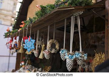 Toys on Christmas Market near Town Hall in Lviv
