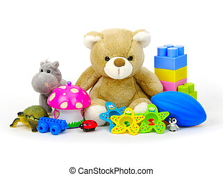 toys collection isolated on white background