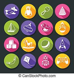 Toys Round Icons Set