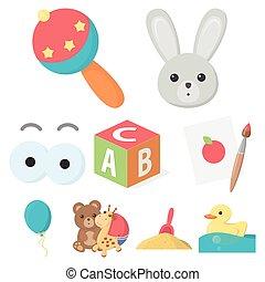 toys, sätta, ikonen, in, tecknad film, style., stor, kollektion, av, toys, vektor, symbol, aktie illustration