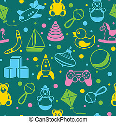 Toys seamless pattern - Children toys outline seamless...