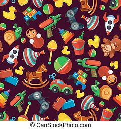 Toys seamless pattern for kids isolate on dark background.
