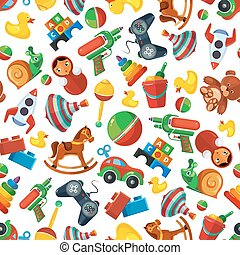 Toys seamless pattern for kids isolate on white background.