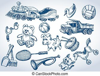Toys set, hand drawings
