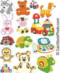 Toys - Set of funny vector toys on a white background
