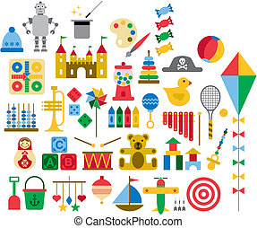 Several vectorized colorful toys.