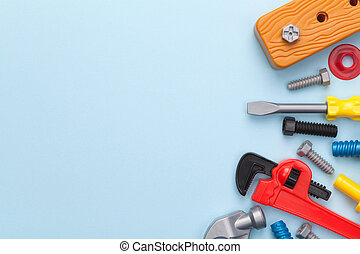 Toys Tools on Blue Background