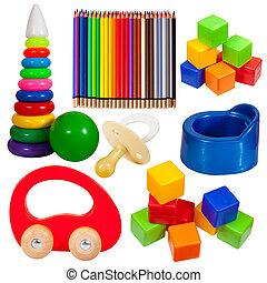 toys., trayectoria, recorte, conjunto, aislado
