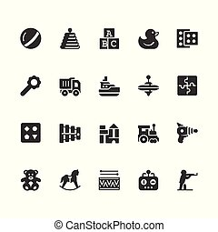 Toys vector icon set in glyph style