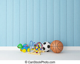 toys with blue wooden background - toys, balls in children's...