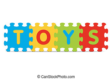 TOYS written with alphabet puzzle