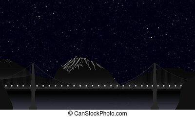 tráfego carro, ligado, a, ponte, à noite, ligado, a, fundo, de, um, montanhoso, paisagem, céus claros, com, estrelas, e, a, moon., timelapse