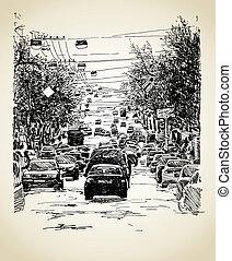 tráfego cidade, composição