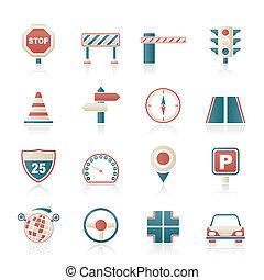 tráfego, estrada, ícones