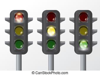 tráfego, lâmpada