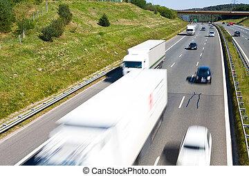 tráfego, ligado, um, rodovia
