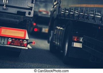 tráfego pesado, caminhões
