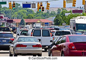 tráfego, pesado, gridlock