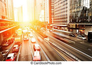 tráfego, rastros, cityscape, hongkong.
