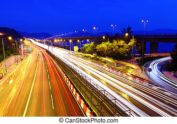tráfego, rodovia, noturna