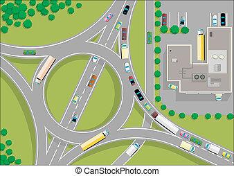 tráfego, rotunda