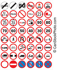 tráfego, signs:, proibir, e, restric