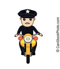tráfico, bicicleta, vector, policía