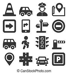 tráfico, blanco, fondo., iconos, conjunto, conducción, coche