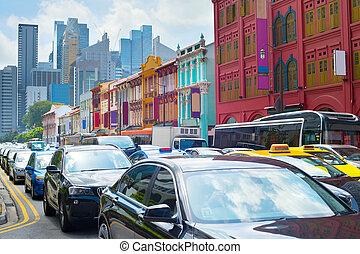 tráfico, bloque, singapur