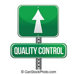 tráfico de camino, señal, con, un, control de calidad,...