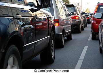 tráfico, durante, el, hora punta
