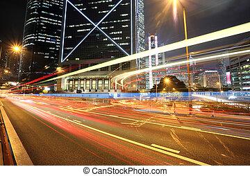 tráfico, en, ciudad, hong kong