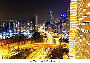 tráfico, en, hong kong, ciudad