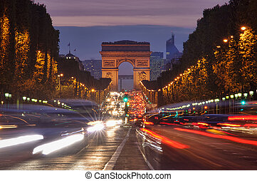 tráfico, en, parís, arco triomphe