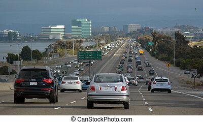tráfico, en, san francisco, california