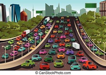 tráfico, en, un, carretera