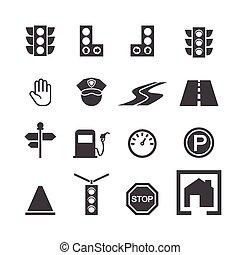 tráfico, icono, conjunto